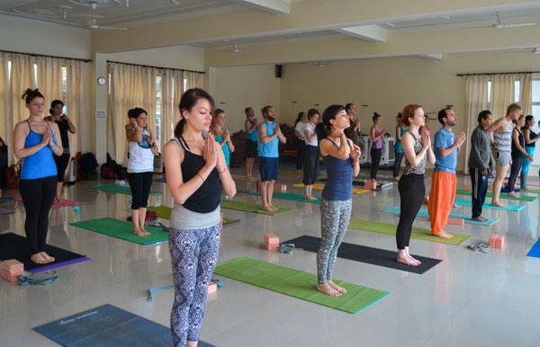 Practice time during 200 hour teacher training in India