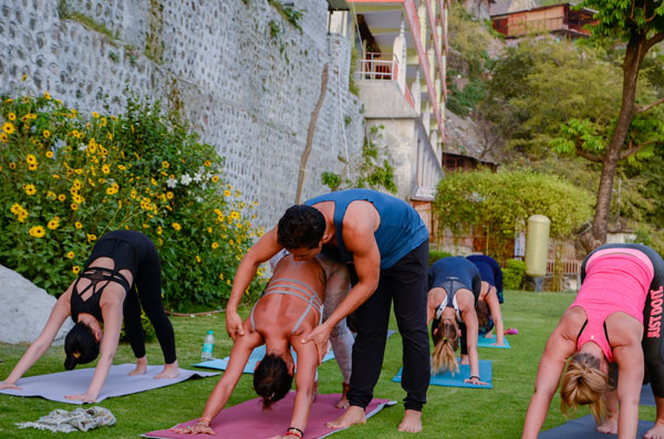 Yoga retreat in India Hatha class in Rishikesh