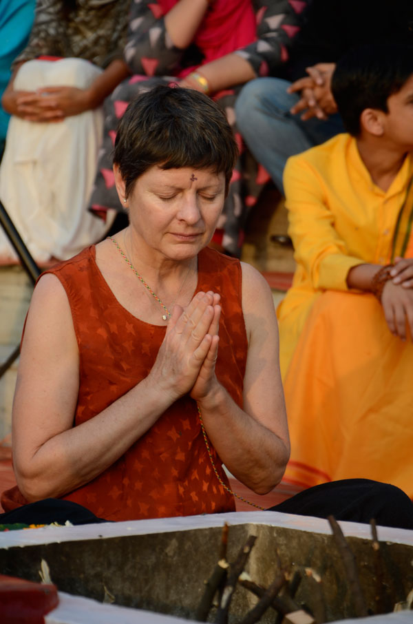 Yoga retreat in India Meditation during Ganga aarti