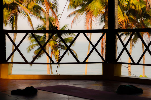Yoga retreat in India a view from the yoga shala in Kerala