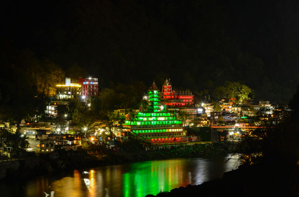 Yoga retreat in Rishikesh Night view in Rishikesh