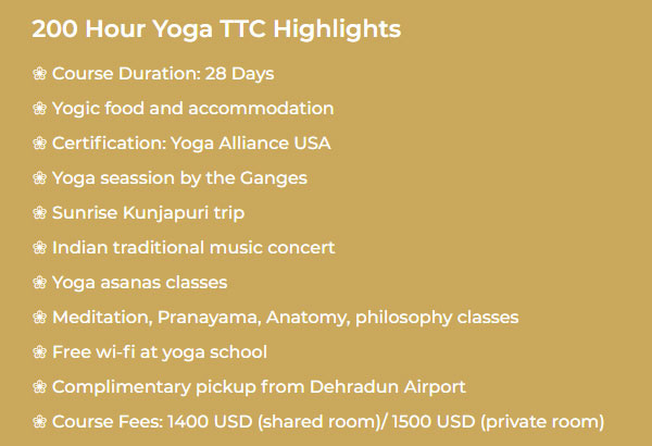 200 Hour Yoga TTC Highlights